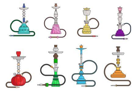 Oriental culture smoke cloud arabian cafe hookah shisha turkish aroma lifestyle lineart set flat design vector illustration Иллюстрация