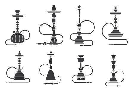 Silhouette hookah shisha turkish aroma lifestyle oriental culture smoke cloud arabian cafe set vector illustration Иллюстрация