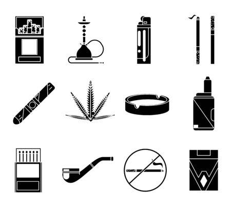 Rauchen Silhouette Icons Set Zigarettenpfeife Vape Shisha passt zu Aschenbecher isolierte Design-Vektor-Illustration Vektorgrafik
