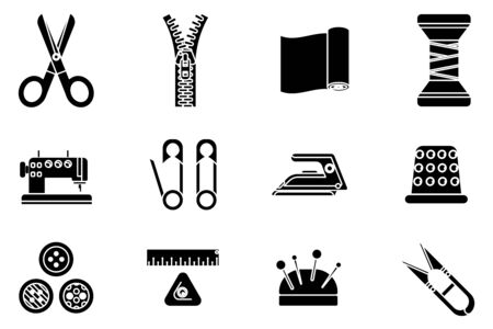 Silhouette sewing tools cloth tailoring craft sew fashion hobby flat design isolated isolated icons set vector illustration