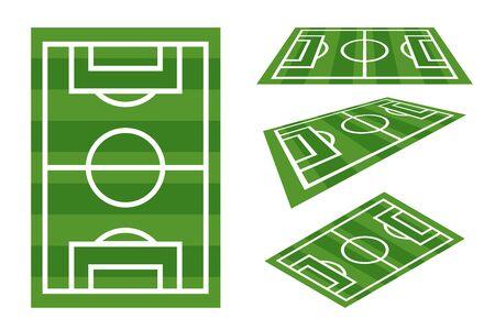 Field football sport play grass soccer game players cartoon flat design vector illustration