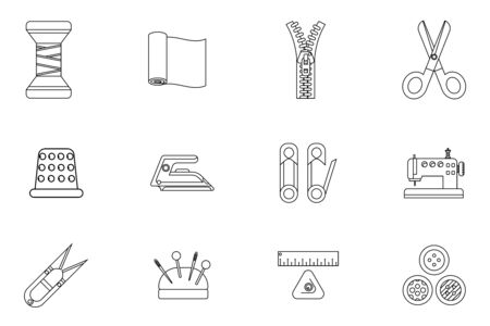 Lineart sewing tools cloth tailoring craft sew fashion hobby flat design isolated isolated icons set vector illustration