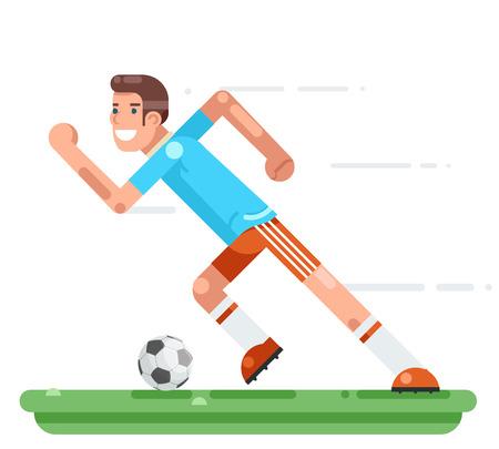 Running soccer player football character stadium background flat design vector illustration