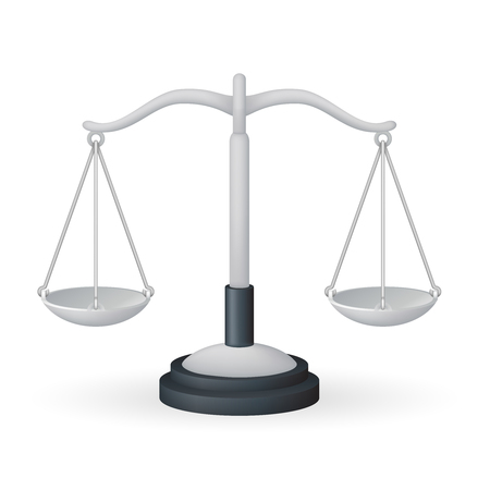 Scales weight measurement equality balance measure instrument isolated icon realistic icon 3d design vector illustration Ilustrace