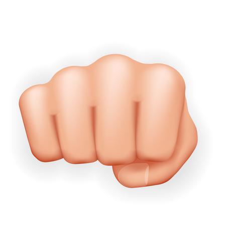 Forte pugno a mano pugno potere coraggio aggressione protesta lotta icona realistica 3d isolato su sfondo bianco illustrazione vettoriale Vettoriali