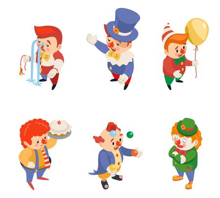 Fiesta de circo isométrica diversión carnaval payasos iconos de personajes de rendimiento divertido conjunto aislado ilustración de vector plano de diseño 3d