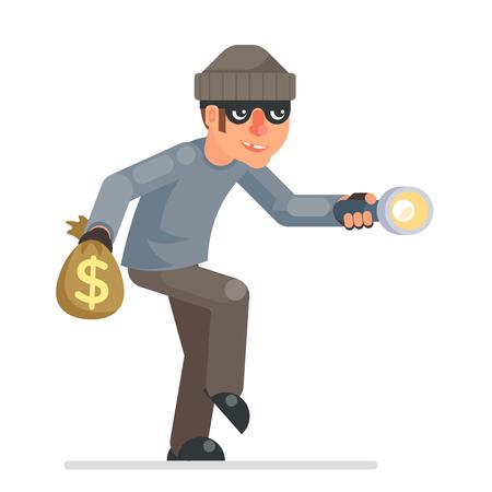Escabullirse picklock ladrón ladrones llaves linterna mano escabullirse mal con avidez ladrón dibujos animados pícaro bulgar personaje diseño plano vector aislado ilustración Ilustración de vector