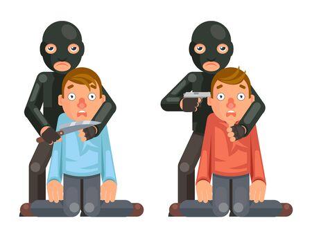 Terrorista ostaggio criminale ladro pistola coltello personaggio criminalità minaccia acquisto richiesta design piatto illustrazione vettoriale