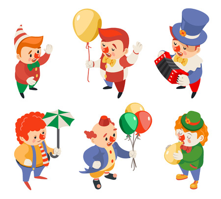 Circus party fun carnival clowns funny performance isometric characters icons set isolated flat 3d design vector illustration