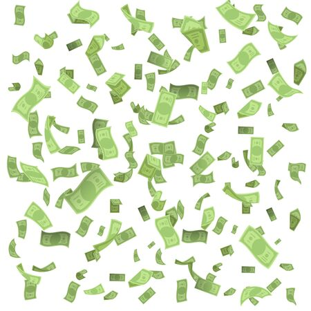 Isolated on white money rain fall earnings luck fortune banknote flying floating confetti 3d realistic design vector illustration
