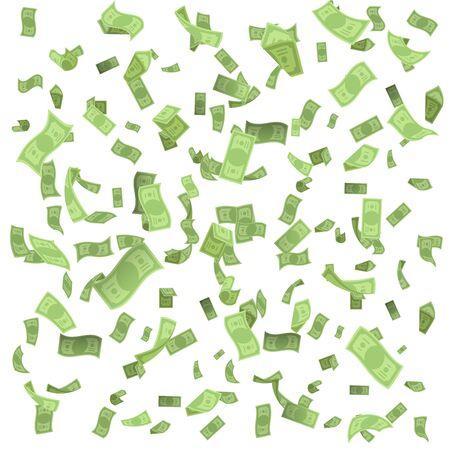 Isolated on white money rain fall earnings luck fortune banknote flying floating confetti 3d realistic design vector illustration Reklamní fotografie - 131992711