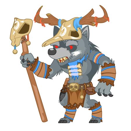 Outline druid wolf werewolf shapeshifter shaman monster fantasy medieval action game RPG character vector illustration  イラスト・ベクター素材