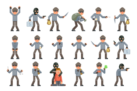 Evil danger greedily risk housebreaker thief threat rogue villian terrorist criminal character cartoon design flat isolated set vector illustration