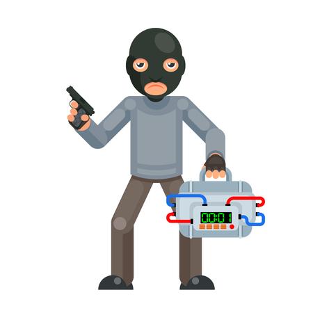 Pistolet armé valise terroriste bombe explosion menace mal avidement caractère plat isolé design illustration vectorielle Vecteurs