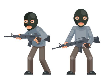 Arme à feu armé soldat terroriste menace mal avidement caractère plat isolé design illustration vectorielle Vecteurs