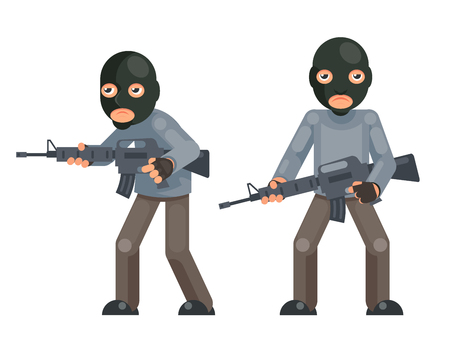 Weapon gun armed terrorist soldier threat evil greedily character flat isolated design vector illustration Illustration