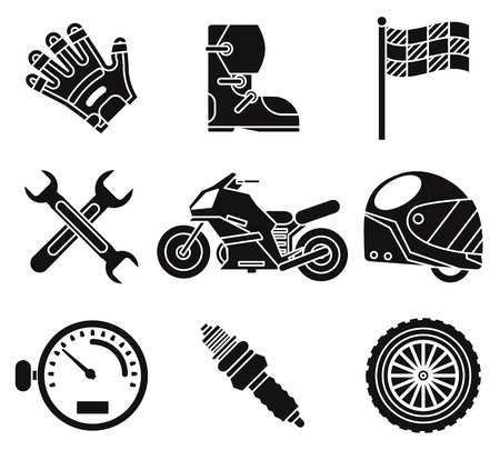 Black silhouette bike race sport championship motocross motorbike vehicle icons set isolated on white background vector illustration Çizim