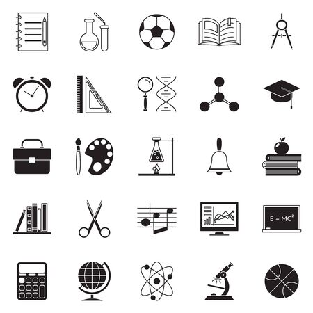 Colladge education school knowledge silhouette icons set line art isolated vector illustration