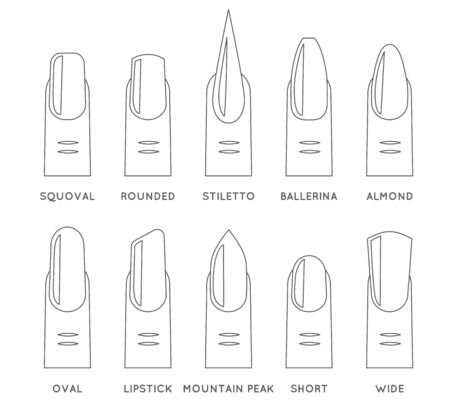 Outline lineart natural fashion trend female nail manicure shape forms isolated icons set design vector illustration