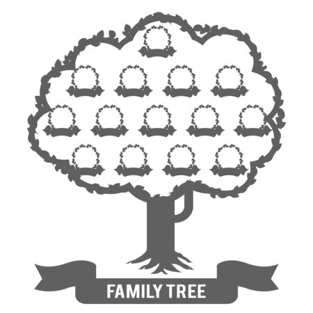 Silhouette genealogy family tree son daughter father mother grandfather grandmother parent photo picture frames design vector illustration