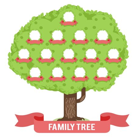 Genealogy family tree son daughter father mother grandfather grandmother parent photo picture frames flat design vector illustration