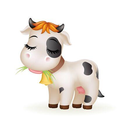 Farm little cartoon cute calf white cow standing mammal animal art design isolated vector illustration