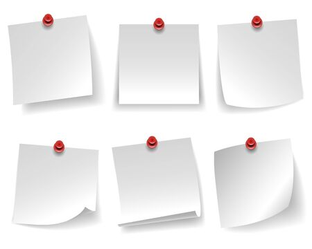 Pinned empty white note paper curled corner red push button message isolated on white background vector illustration