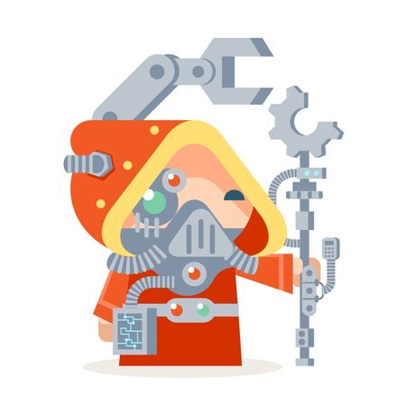 Sci-fi fantasy technology cybernetic technomage scientist technician engineer RPG game character vector icon illustration