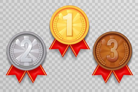 Shiny gold bronze silver winner leader award ceremony champion thirst second third place medal ribbon trophy icons set vector illustration Stock Illustratie