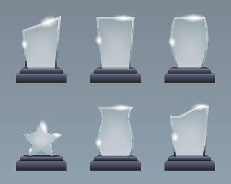 Blank glass trophy award realistic decoration design elements template vector illustration