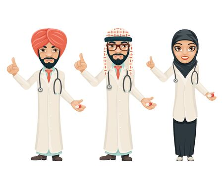 Quality treatment arab traditional national muslim clothes doctor pill medicine cartoon characters set design vector illustration Иллюстрация