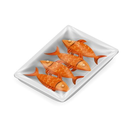 Fish food pack isolated isometric disposable 3d realistic shop package box design vector illustration