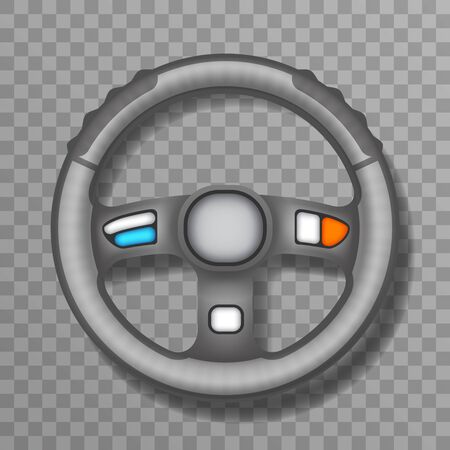 Driving car vehchile wheel transportation automobile 3d realistic design isolated icon vector illustration Illustration
