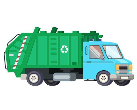 Garbage truck car machine recycle trash transportation automobile flat design vector illustration Иллюстрация