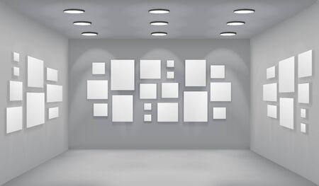 Showroom art gallery empty museum room interior background perspective with blank paper square frame template vector illustration