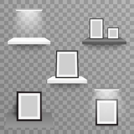 Exhibition wall decoration photo frame 3d realistic design hanging shelf light lamp wall transparent background vector illustration