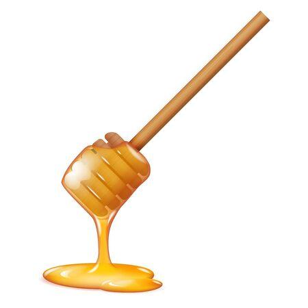 Illustrazione realistica di vettore della decorazione 3d dell'alimento sano di dolcezza del bastone di miele che scorre