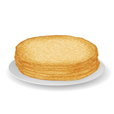Plate with pile of pancakes sweet food realistic 3d decoration vector illustration