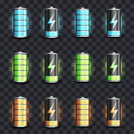 電気電池エネルギー充電状態フルローパワーベクトルイラスト
