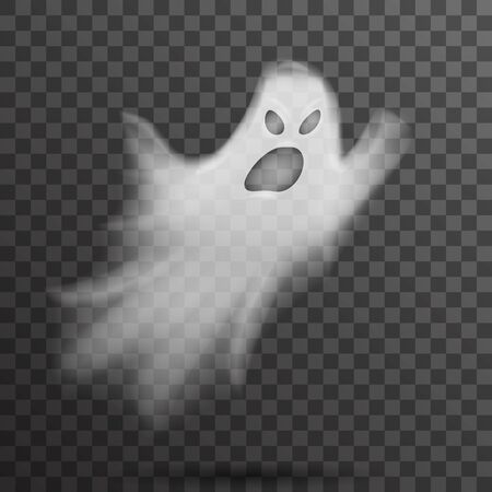 Angry halloween white scary ghost isolated template transparent night background vector illustration
