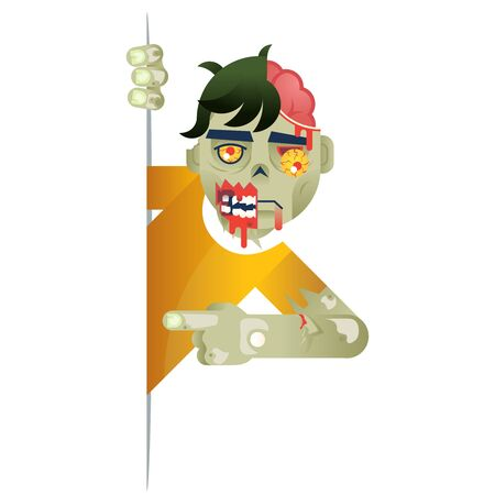 Zombie costume role character halloween party look out the corner template decoration vector Illustration