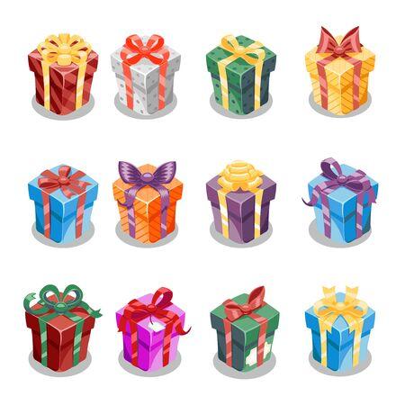 Ilustración de vector de plantilla de conjunto de iconos de diseño de año nuevo de cinta de caja de regalo de regalo de Navidad de dibujos animados Ilustración de vector