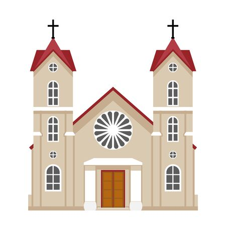 Church christianity architecture house building religious flat design vector illustration