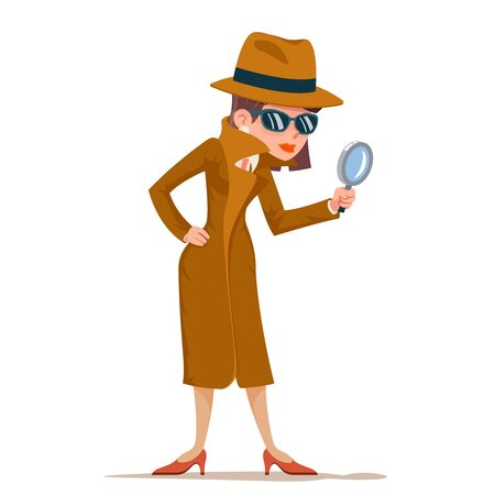 Detective, mujer, snoop, lupa, tec, búsqueda, ayuda, noir, caricatura, hembra, caricatura, carácter, diseño, aislado, vector, ilustración