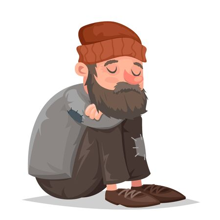 Homeless bum poor male depressed character isolated icon cartoon design vector illustration