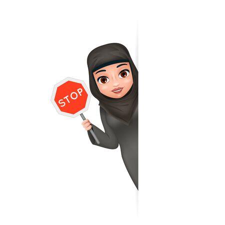 Cuidado con la protesta de la esquina, lucha por la igualdad de derechos, señal de stop, árabe, ropa femenina tradicional, hijab, abaya, 3d, lindo, caricatura, carácter, diseño, vector, ilustración