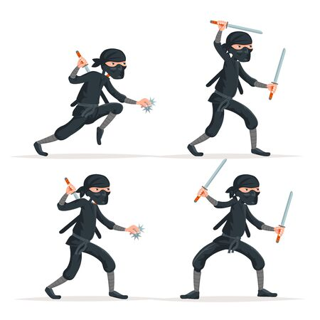Ninja japanese secret assassin sword character set cartoon stealthy sneaking isolated on white vector illustration