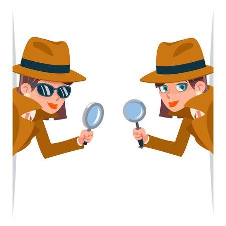 Détective femme snoop loupe tec furtivement coin recherche aide noir mignon personnage dessin animé design isolé illustration vectorielle