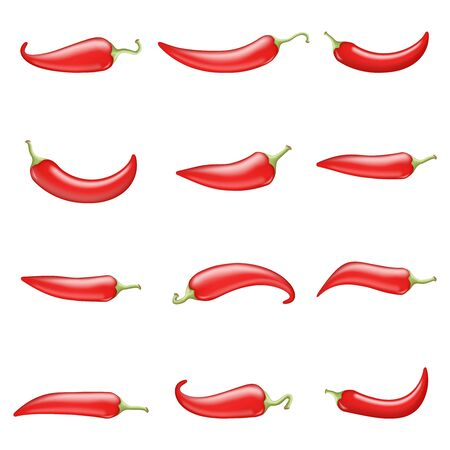 Red hot chili pepper cook ingredient raw vegetable realistic 3d design vector illustration