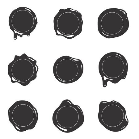 Black silhouette postage wax seal scroll stamp empty sign diploma certificate isolated on white mockup icons set design vector illustration Ilustração